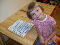 Girl learning at Montessori Children's School of Northfield